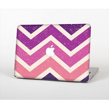 The Purple Scratched Texture Chevron Zigzag Pattern Skin Set for the Apple MacBook Air 11""