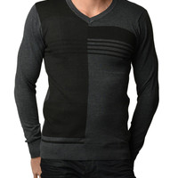 Men's Black and Grey Polar V Neck Sweater