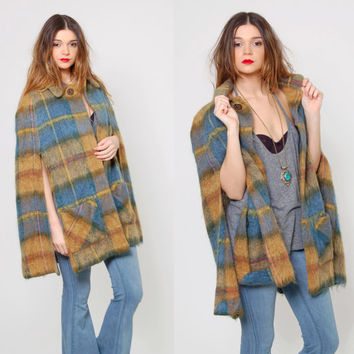 Vintage 70s Mohair PLAID Cape Scottish Wool Poncho Blue & Mustard ANDREW STEWART Folk Cape