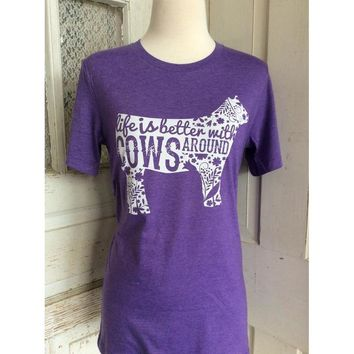 Life is better with cows t-shirt purple