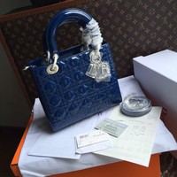 "Christian Dior LADY DIOR MINI ""LADY DIOR"" BAG PATENT BLUE LEATHER"