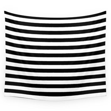 Society6 Modern Black White Stripes Monochrome Pat Wall Tapestry