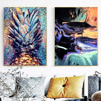 Abstract Sea Colorful Pineapple Wall Art Canvas Painting Nordic Posters And Prints Watercolor Wall Pictures Living Room Decor