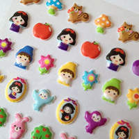 Mini Puffy icon princess snow white sticker fairy tale red apple Dwarf  kawaii pet pink rabbit diy princess party gift mini doll sticker