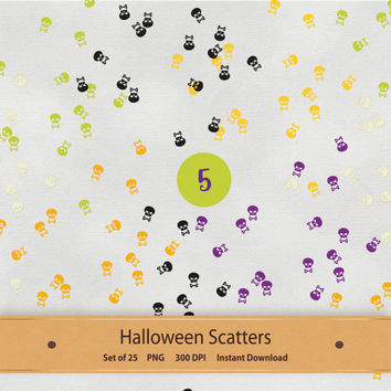 Halloween Scatters Digital Scrapbook Embellishments Elements Purple Green Orange Yellow Black Skulls Skeleton Bones Pumpkin Eyeballs Spiders