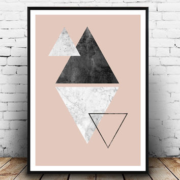 Triangle print, marble print, pink wall art, scandinavian design, watercolor print, living room art, home decor, geometric art, minimalist