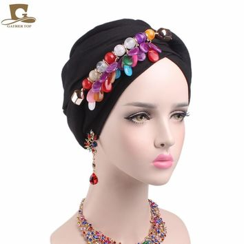 2017 new women marble stone Pendant headscarf turban soft cotton voile long headwrap Necklace Scarve Jewelry neck warmer two use
