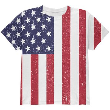 4th of July American Flag Distressed All Over Youth T Shirt