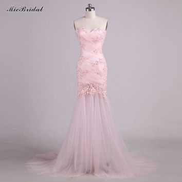 Robe de soiree Sexy Backless Halter Mermaid Prom Dresses 2017 New Arrival Vestido de festa Long Pink Lace Evening Gown RQE781
