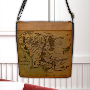 Map of Middle Earth Realm Land LOTR Flap Closure Seal Cross Shoulder Messenger Bag