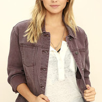 RVCA Road Worthy Washed Plum Purple Denim Jacket