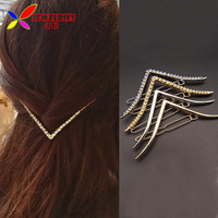 2016 Alloy Hair Clips Fashion Simplicty Plain & Fake Rhinestone V-shaped Hairpins Jewelry for Women Accessories pinzas de pelo