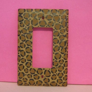 Hand-Painted Leopard Print Light Switch Plate
