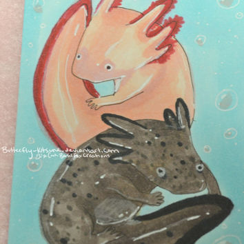 Axolotl Copic Marker Original Drawing ACEO Artist Trading Card