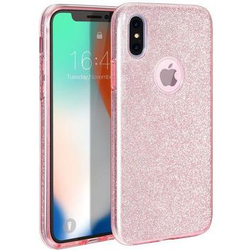 CREYV2S iPhone X Case, MILPROX iPhone X Glitter, Shiny Sparkly Silm Bling Crystal Clear , 3 Layer Hybrid, Anti-Slick/ Protective/ Soft Case for iPhone 10(2017)- 5.8 Pink