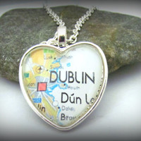 Dublin Map Necklace, Ireland, Heart Pendant with Chain