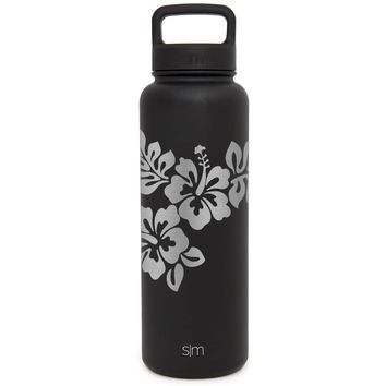 Premium Hibiscus Water Bottle, Extra Lid, Wide Mouth, Stainless Steel, Vacuum Insulated, Double Walled, Hot and Cold, 40 Ounce (Midnight Black)