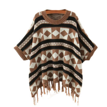 Winter Women's Fashion Tassels Bat Tops Pullover Sweater [9017746628]