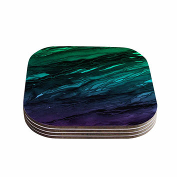 "Ebi Emporium ""Agate Magic - Green Plum Ombre"" Aqua Purple Coasters (Set of 4)"