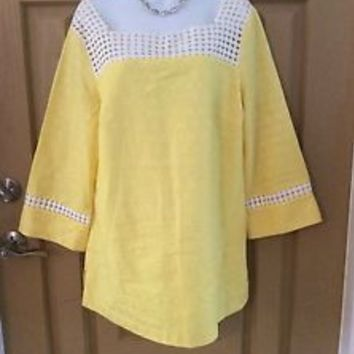 Lilly Pulitzer Bees Nees Yellow Tunic Blouse Lace Trim Size 12 NWT $228.00