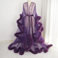 Sexy Sheer Feather Bridal Robe Tulle Illusion Long Wedding Scarf New Birthday Maternity Photography Robe