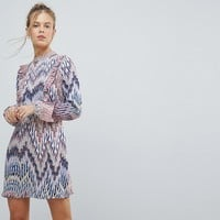 AX Paris Long Sleeve Graphic Print Dress at asos.com