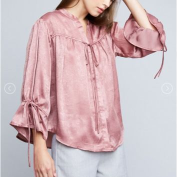 Rose :: Satin Button Down Blouse with Self Tie Detail