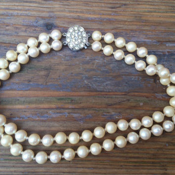 vintage two strand pearl choker necklace with sterling silver rhinestone clasp