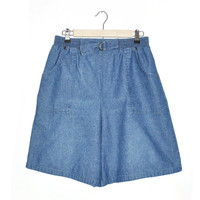 L1-16 Blue Denim Square Pockets Elastic Waist Vtg 80s 90s Beach Chic Shorts sz Medium - Large