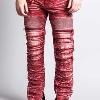 Distressed Acid Washed Biker Slim Jeans DL1115 - A6F