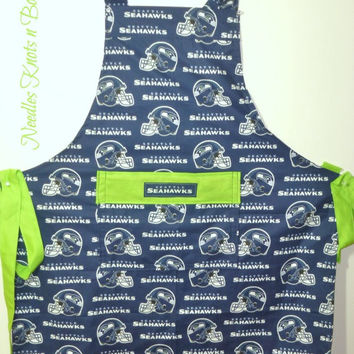 Seattle Seahawks Apron, Mens Apron, Womens Apron, Unisex, Hawks Football Game Day Team Apron, Sports Team Aprons