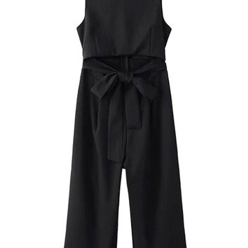 Black Open Belly Bowknot Detail Cropped Wide Leg Jumpsuit