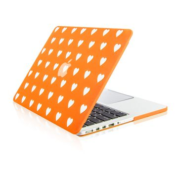 """Orange Heart Shape Design Ultra Slim Light Weight  Hard Case Cover for Apple MacBook Pro 13.3"""" with Retina Display Model: A1425 and A1502"""