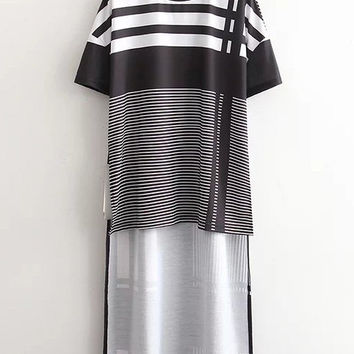 Black And White Stripe High Low T-shirt