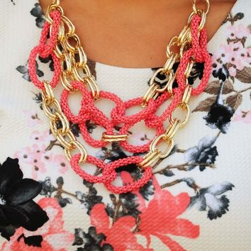 Links Of Love Necklace: Coral/Gold