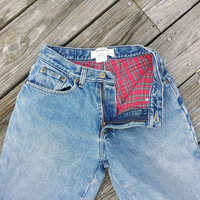 Vintage High Waisted L.L. Bean Womans Red Flannel Lined blue Jeans - SZ 4 Petite
