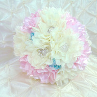 Ready to Ship Wedding Bridal Brooch Bouquet Blush Pink Ivory & Aqua Blue Satin and Tulle Flowers Vintage Shabby Beach Wedding