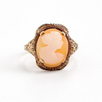 Antique 10K Rose Gold Cameo Ring- Art Deco 1920s 1930s Floral Filigree Size 6 3/4 Fine Carved Shell Jewelry