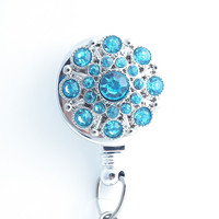 Turquoise Blue Rhinestone Chrome Badge Reel - Magnetic Retractable