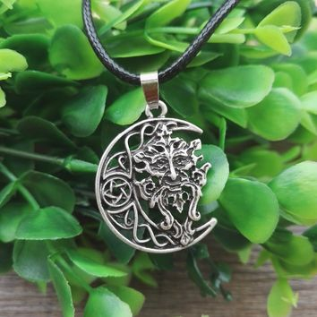 Beautiful Green Man Necklace Celtic Wicca Pagan God Tree Spirit