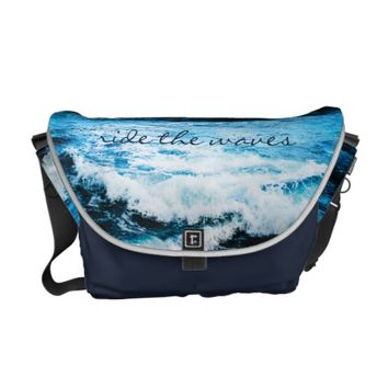 Ride the waves turquoise ocean photo messenger bag