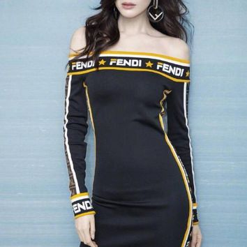 FENDI Autumn Winter Hot Sale Fashion Women Knit Long Sleeve Off Shoulder Dress