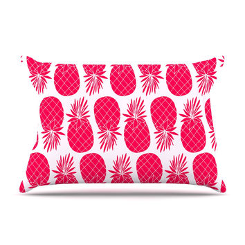 "Anchobee ""Pinya Neon Pink"" Magenta Pattern Pillow Case"