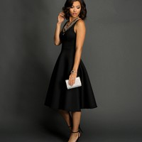 Sale-black Tea-length Flare Dress