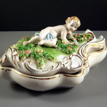 LARGE Porcelain Nude Nymph / Cherub Dresser Trinket Box // Jean Harlow Face // Flowers with Spaghetti Trim // from Successionary