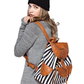 FunShop Women's Blue Stripes Pattern Canvas Backpack with Buckle Detail D1117