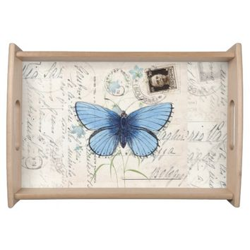 Vintage Blue Butterfly Italian Postcard Tray Food Tray