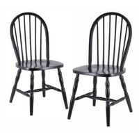 Set of 2 - Classic Solid Wood Dining Chairs in Black Finish