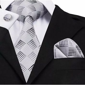 Men's Silk Coordinated Tie Set - Silver Squared