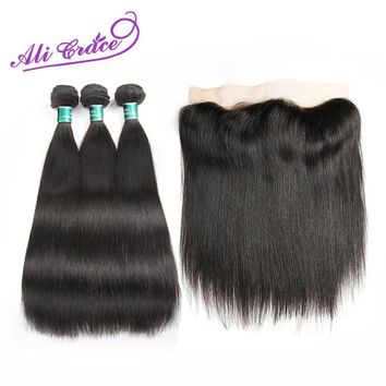Ali Grace Hair Peruvian Straight With Closure 3 Bundles With 13*4 Free Middle Part Ear To Ear Lace Frontal Remy Human Hair